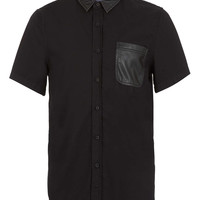 Black Leather Look Collar Short Sleeve Shirt - Men's Shirts - Clothing - TOPMAN USA