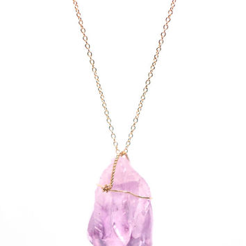 Raw Amethyst nugget - raw amethyst wire wrapped onto a 14k gold filled chain - Amethyst necklace