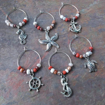 Set of 6 Nautical wine glass charm set gifts under 20 item No.908