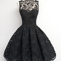 Short Black Lace Prom Dresses, Short Black Homecoming/Graduation Dresses