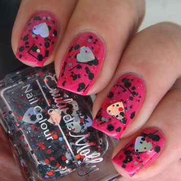 "Nail polish - ""When is it"" black, red and silver glitter in a clear base - Valentines day"