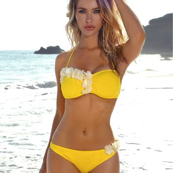 Marseille Yellow and White Floral Two Piece Swimsuit