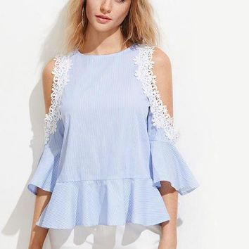 Lace Applique Blouse Cute Blue Open Shoulder Tops Women Ruffle Tops Striped Bell Sleeve Tied Blouse