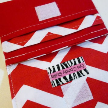 Red and White Chevron Wallet, Chevron wallet, Women's wallet, Fabric wallet, Small wallet, Wallet
