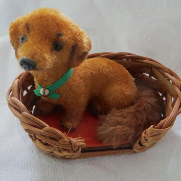 Vintage Wagner Dog in Basket Figure, Kunstlerschutz  West Germany Flocked Dachshund  Amber Flocked Putz Dog  Vintage Dog Figurine