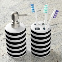 Black and White Stripes - Bathroom Set