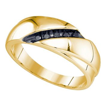 10kt Yellow Gold Mens Round Black Color Enhanced Diamond Band Ring 1/10 Cttw