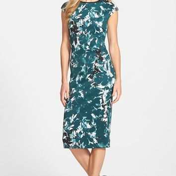 Women's Maggy London 'Shadow Branch' Print Scuba Midi Dress,