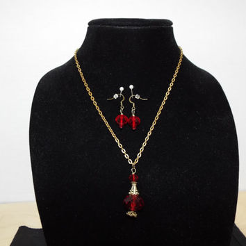 Fairy Tale Necklace,  Potion Bottle and Earring Set, Red Swarovski Crystal Pendant Bronze Chain Necklace, Genie Bottle Necklace