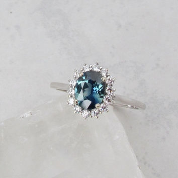 RESERVED Final Payment on Custom Order for Blue Green Sapphire 14k White Gold Diamond Cluster Engagement Wedding Anniversary Ring
