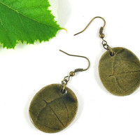 Ceramic Earrings Handmade Jewellery with Pumpkin Leaf Imprint Earthy Olive Green Comes in Handmade Gift Pouch