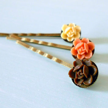 Shabby Chic Rosette Orchid Flower Bobby Pin Set of 3: Ivory, Coral & Brown in Antique Brass from the Vintage Garden