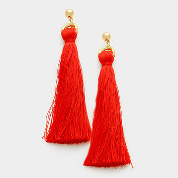 Red Silk Thread Tassel Earrings, Thread Tassel Earrings, Silk Thread Earrings