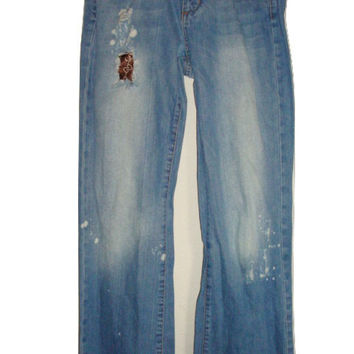 patched sz 26 27 Hippie distressed thrashed destroyed patch frayed bleach splatter Denim jeans women bell bottoms flare Grunge Boho Festival