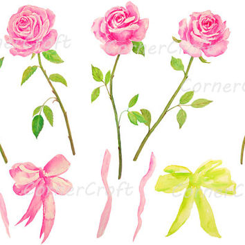 hand painted watercolour pink roses with stem, tea rose digital clipart instant download scrapbook wedding card, greeting card, wall art