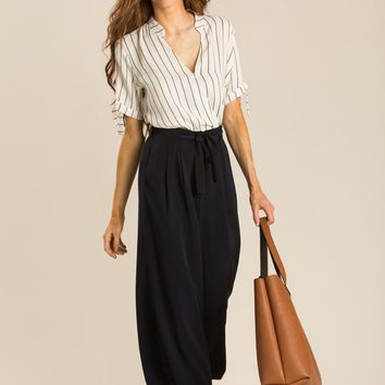 Fiona Off White Stripe Bow Sleeve Top