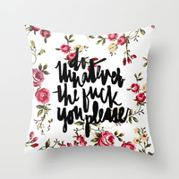 do what you please - floral Throw Pillow by Molly Ennis