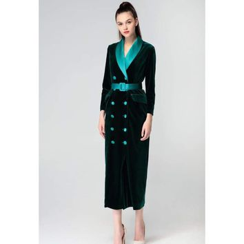 Vintage Double Breasted Wrap Notched Velvet Maxi Dress