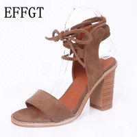 EFFGT 2017 NEW Sexy Women Pumps Open Toe Lace up Heels Sandals Woman sandals Thick with Women Shoes women High heels shoes