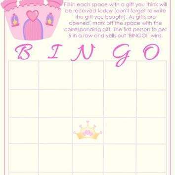 10 Princess Castle Baby Shower Bingo Cards