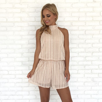 Lifestyle At Sea Halter Romper In Tan