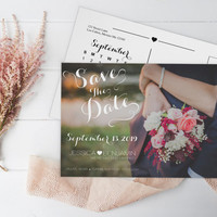 Calendar Save the Date Postcard, Calligraphy Script & Heart, Calendar Save the Dates Photo Card, DIY Printable Photo Save the Date Postcard