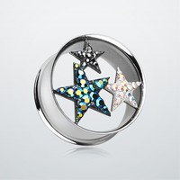 Triple Star Tiffany Inspired Tunnel Ear Gauge Plug