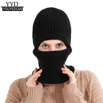 Hat For Men Women Winter Warm Cycling Waterproof Baggy Knitted Cashmere Plain Hat Scarf Set Beanies Women Bonnet Femme *1204
