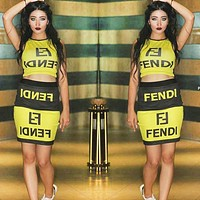 Fendi New fashion letter print vest top and skirt two piece suit Yellow
