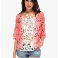 Pink Costa Rica Crochet Top | $10.0 | Cheap Trendy Blouses Chic Discount Fashion for Women | ModDea