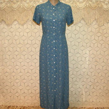 90s Grunge Blue Dress Button Up Short Sleeve Maxi Petite Small Rayon Casual Long Dress Eddie Bauer 1990s Vintage Clothing Womens Clothing