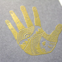 The Something Hand, large notebook, gold