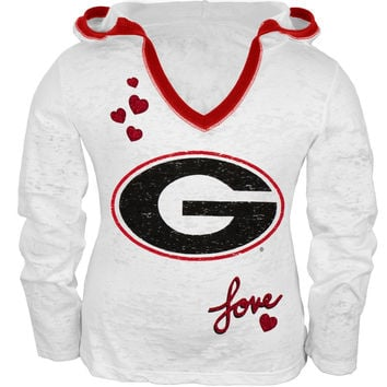 Georgia Bulldogs - Glitter Hearts Girls Juvy Hooded Long Sleeve T-Shirt
