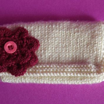 Knitted Pocket Purse - Knit Coin Purse - Knitted Clutch