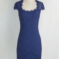 Mid-length Cap Sleeves Sheath How Does Sheath Do It? Dress in Cobalt