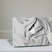 Marble MacBook Decal - Black and White Vinyl Laptop Skin