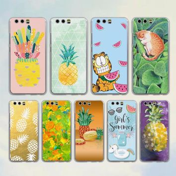 summer Avocado Fruit Pineapple style clear Mobile phone Case cover for Huawei P10 Lite P10 Plus P8 P9 Ascend G7 G8 Mate 9