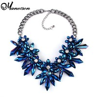 2016 Blue Flower Crystal Big Brand Valentine's Day Gifts Gem Luxury Accessories Necklaces & pendants Maxi Statement Jewelry 2231