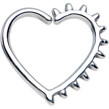 "16 Gauge 3/8"" Spiked Heart Closure Daith Cartilage Tragus Earring"