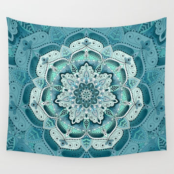 Winter blue floral mandala Wall Tapestry by maria_so