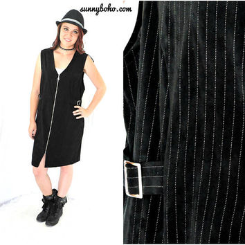 Minimalist  jumper / dress size M 9 / 10 / black velvet pinstripe dress / 90s grunge / goth black sleeveless jumper / SunnyBohoVintage