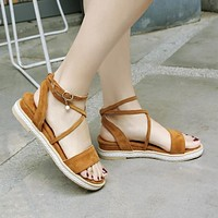 Suede Wedges Sandals Women Platform Shoes 9153