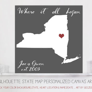 Custom ANY State silhouette Map Personalized Canvas  Art - House Warming Wedding Engagement Gift