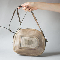 DELVAUX Cross Body Bag Taupe. Women's Bag Luxury Leather. Stripy D Shoulder Bag. Saddle Bag Style Belgium made. Sandy handbag purse gift
