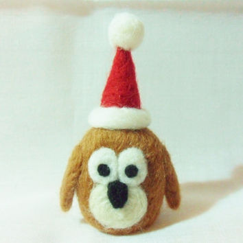 Needle Felted Christmas Owl - Christmas Ornament - 100% merino wool - needle felt owl - Christmas owl