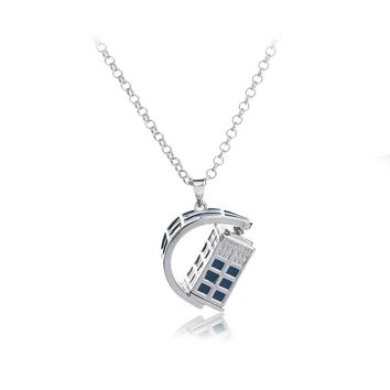 Jewelrygift Blue Telephone Booth necklace Arbitrary Rotation Doctor TARDIS necklace Classic jewellery Doctor Who For Men  Women