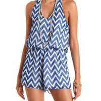 Chevron Print Chiffon Halter Romper by Charlotte Russe - Blue Combo