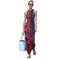Bohemian Maxi Dress For Women Backless Vestidos Longo Sexy Dashiki Retro 2016 Summer Floral Print Dresses Vintage Robe Casual