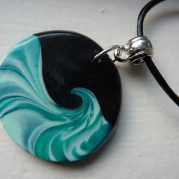 Midnight Surf - Ocean Wave Polymer Clay Pendant Necklace in Aqua Turquoise Blue - Leather Cord Necklace - Handmade