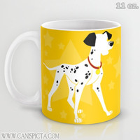Dalmatians 11 / 15 oz Mug Dishwasher Microwave Safe Cup Tea Coffee Drink Spots Spotted Black White Red Blue Yellow Puppy Dog 101 Stars Pet
